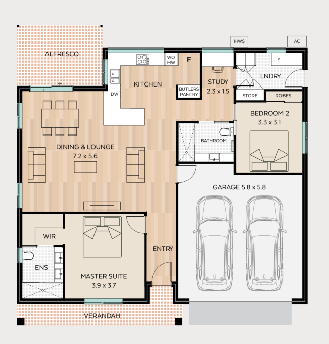 Woodclyffe floor plan - click to expand